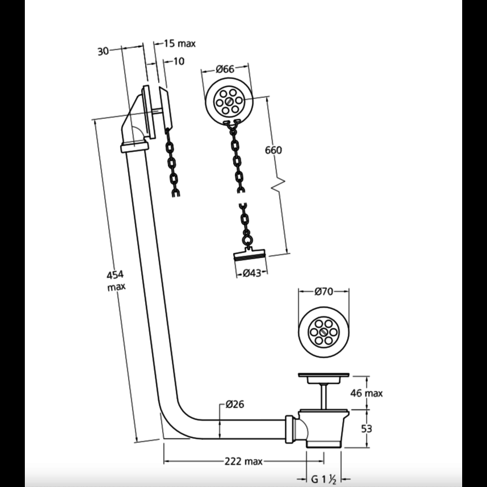 Lefroy Brooks LB exposed bath overflow with plug and chain LB-1382