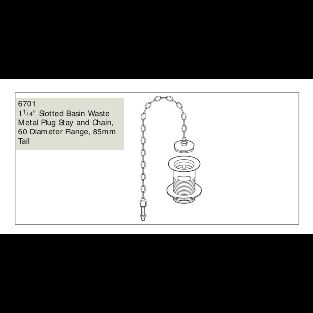 Perrin & Rowe P&R wastafel waste met stop en ketting  E.6701