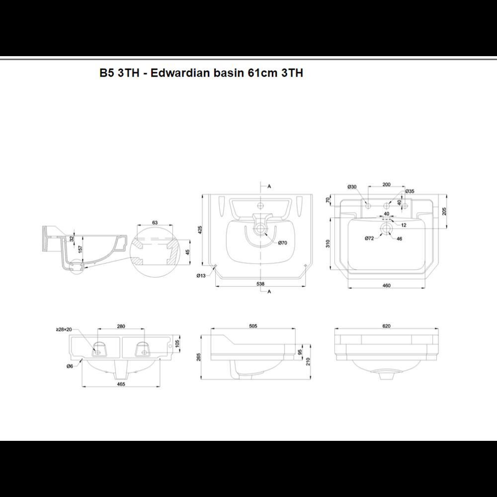BB Edwardian Klassieke wastafel Edwardian 61cm