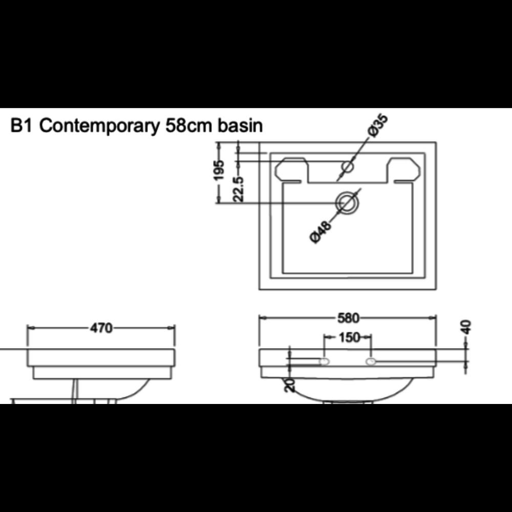 Burlington Contemporary 58cm basin