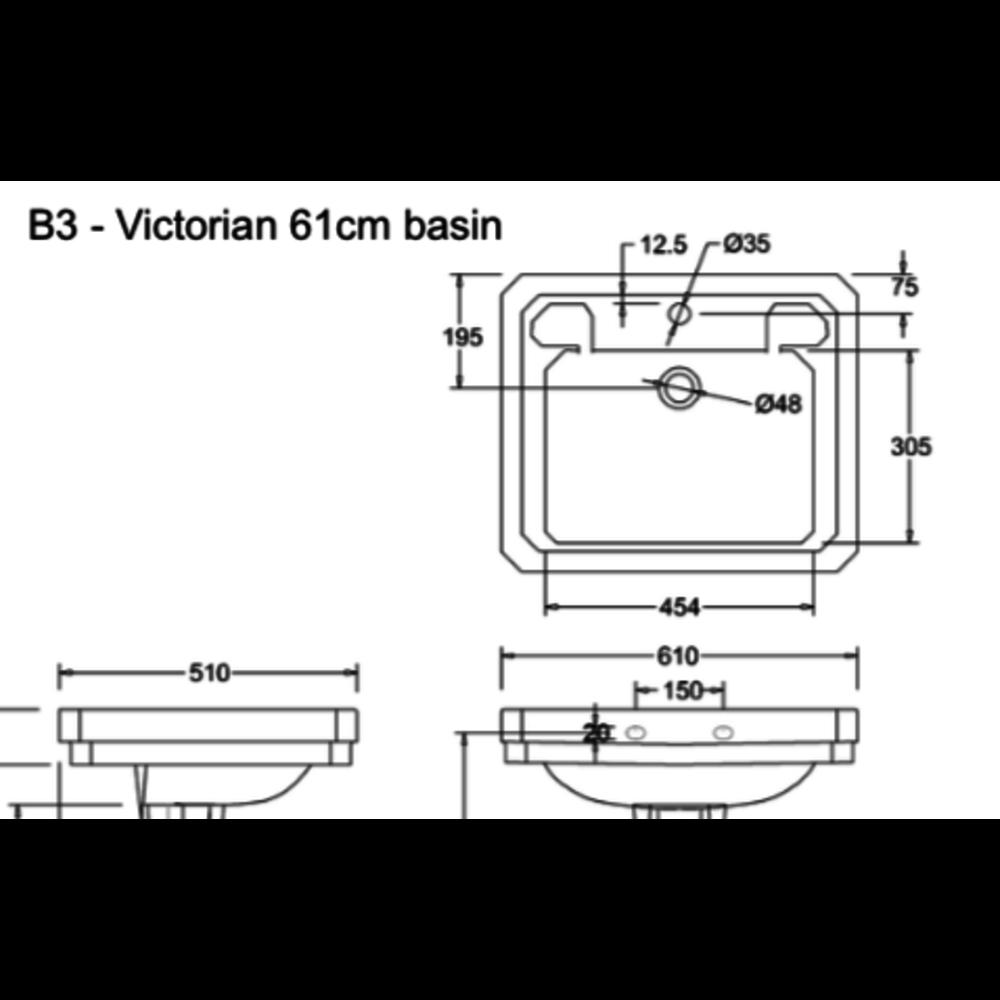 Burlington Klassieke wastafel Victorian 61cm