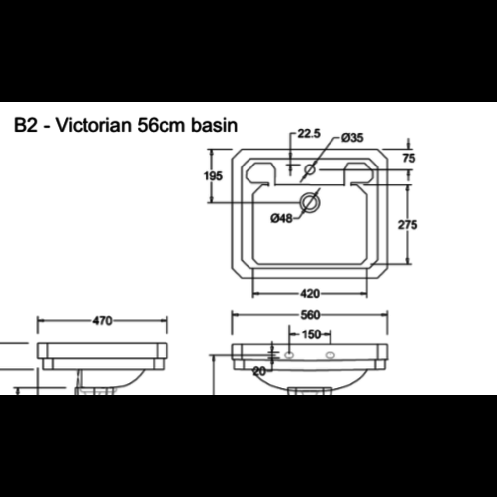 Burlington Klassieke wastafel Victorian 56cm