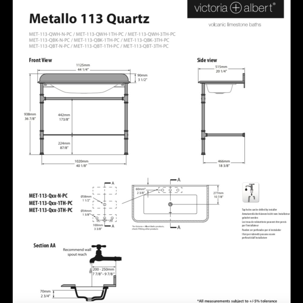 Victoria + Albert V+A Metallo 113 Quarts wastafelstand met inbouw wastafel MET-113-Q-PC