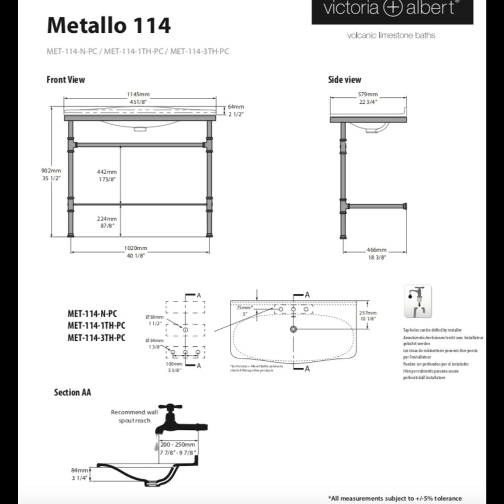 Victoria + Albert V+A Metallo 114 basin & washstand with chrome legs MET-114