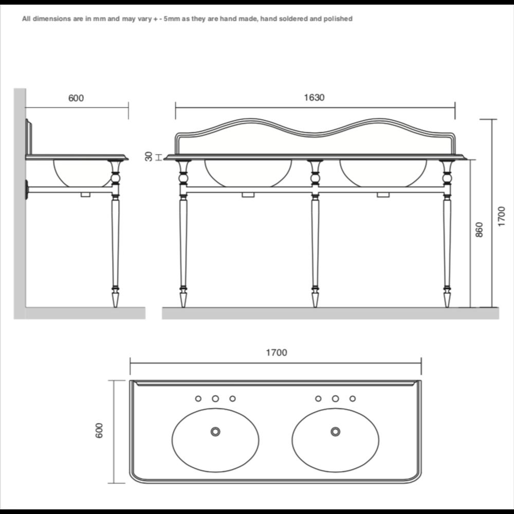 Bard & Brazier B&B Hepburn Double Carrara marmer console wastafel met onderstel