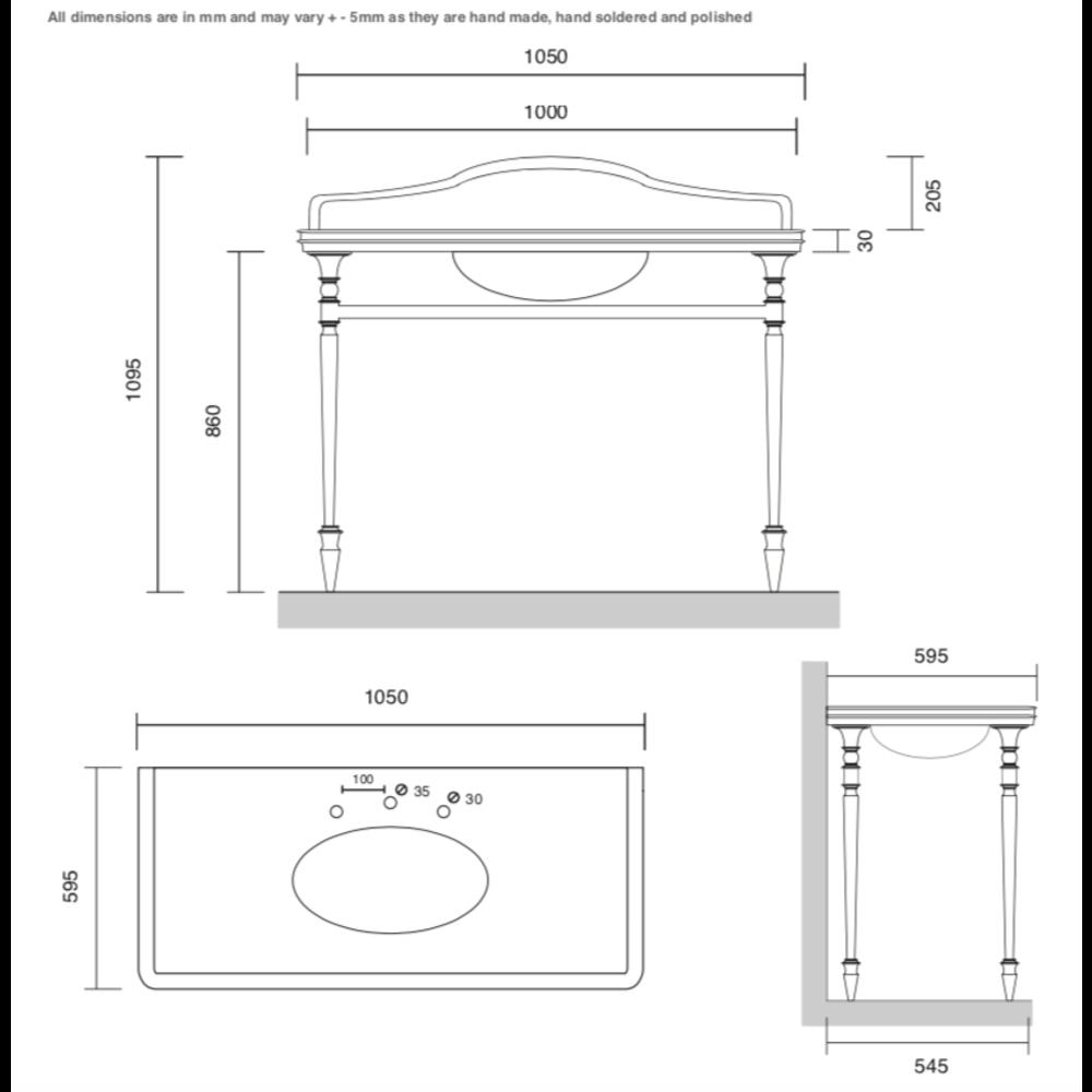 Bard & Brazier B&B Hepburn Single Carrara marmer console wastafel met onderstel