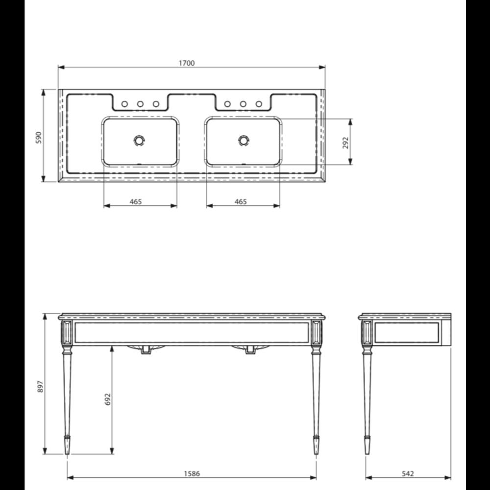 Lefroy Brooks Marble LB Mackintosh dubbele Black Marquina marmer console wastafel met poten deco stijl LB-6443BK