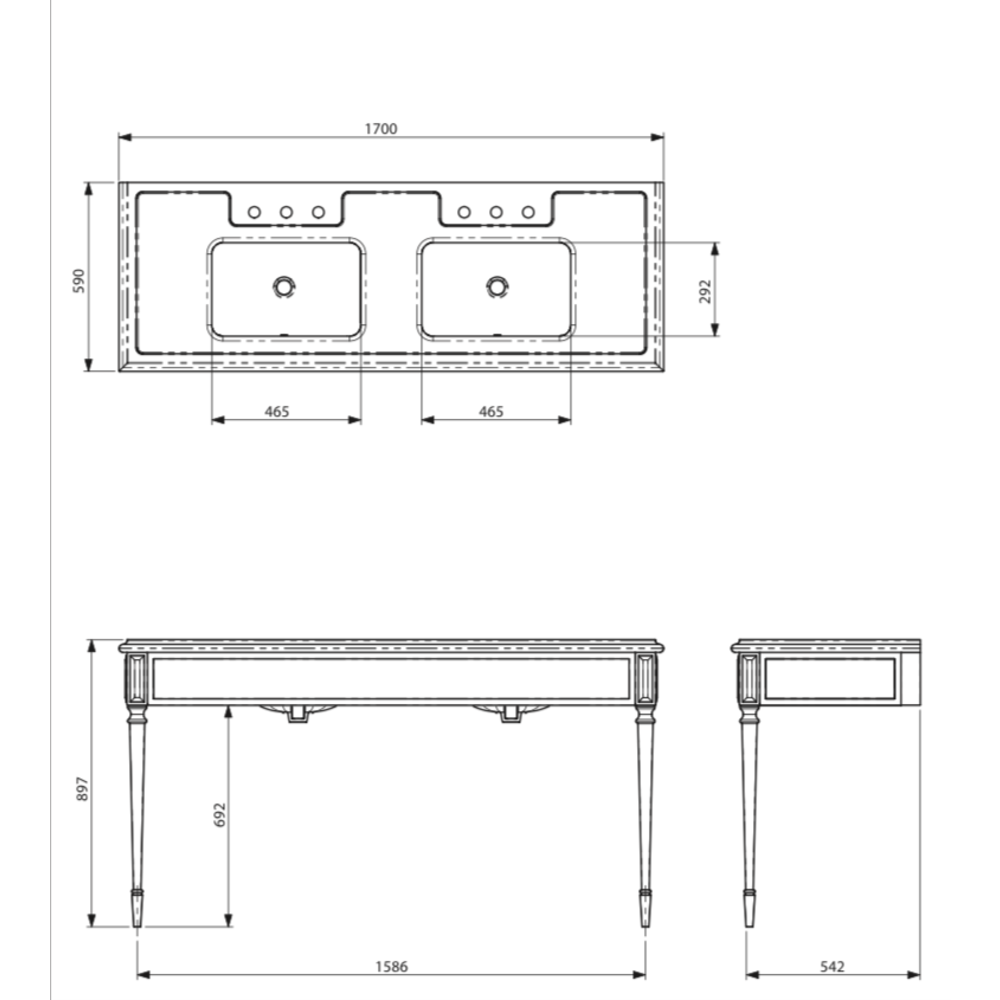 Lefroy Brooks Marble LB Mackintosh double carrara marble console with square deco legs LB-6443WH
