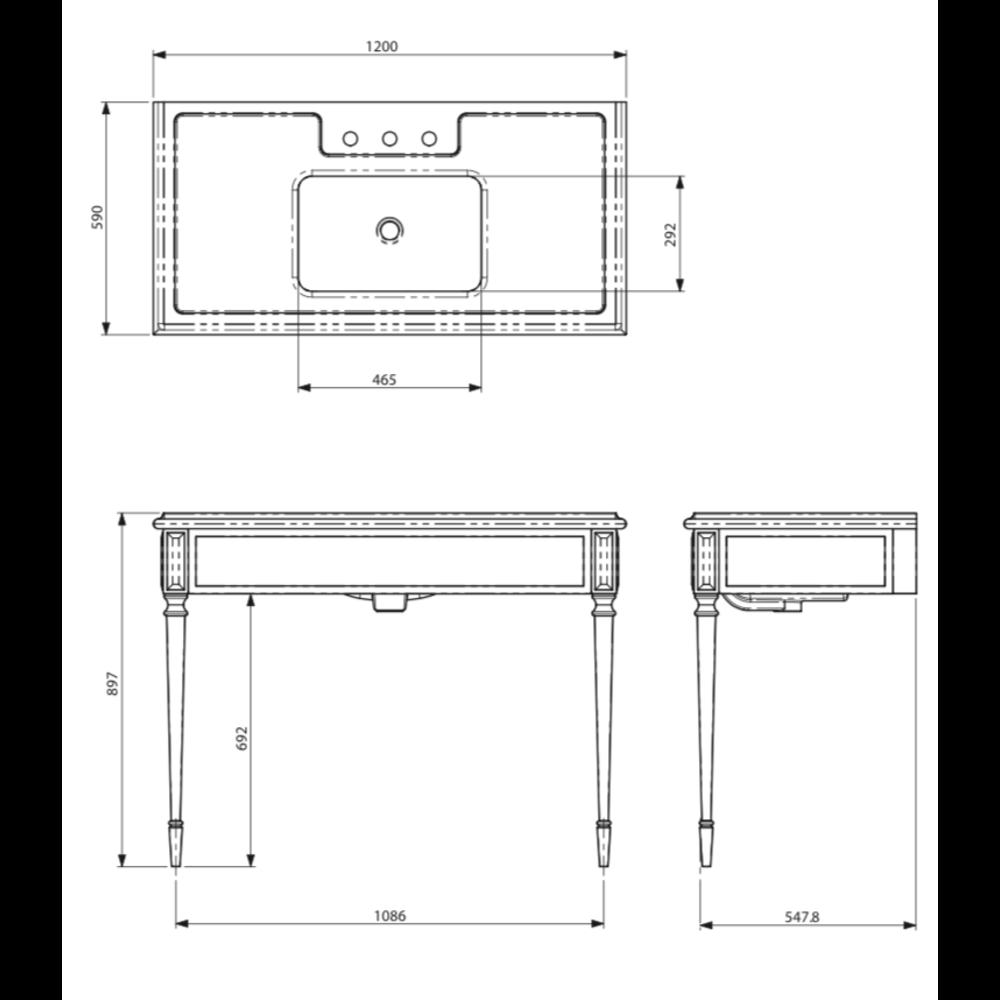 Lefroy Brooks Marble LB Mackintosh Black Marquina marmer console wastafel met poten deco stijl LB-63343BK