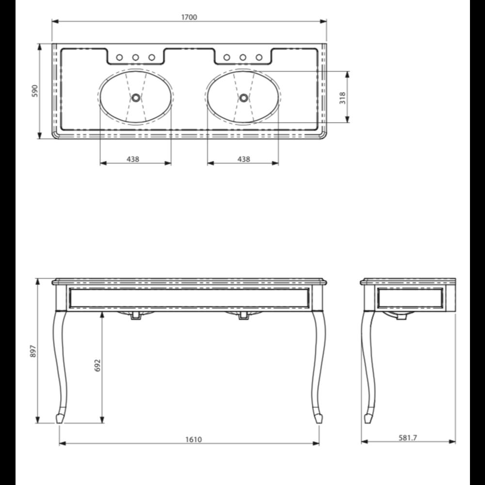 Lefroy Brooks Marble LB La Chapelle dubbele Black Marquina marmer console wastafel met cabriole poten LB-6435BK