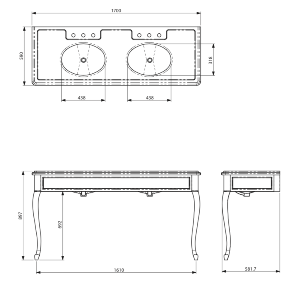 Lefroy Brooks Marble LB La Chapelle dubbele Carrara marmer console wastafel met cabriole poten LB-6435WH