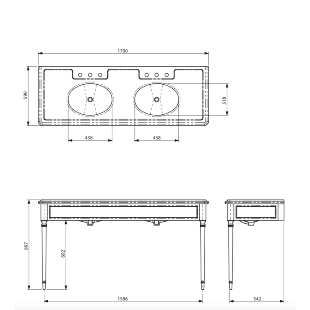 Lefroy Brooks Marble LB Edwardian dubbele Black Marquina marmer console wastafel met poten LB-6434BK