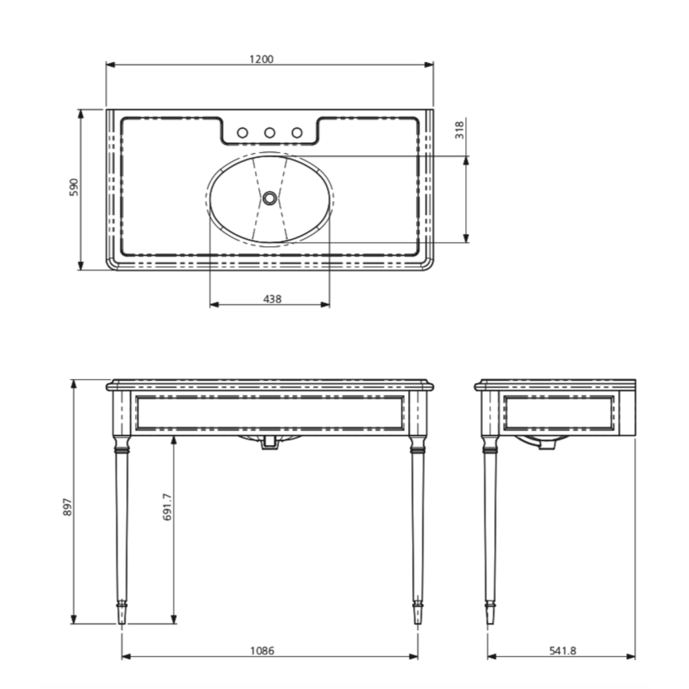 Lefroy Brooks Marble LB Edwardian Black Marquina marmer console wastafel met poten LB-6334BK