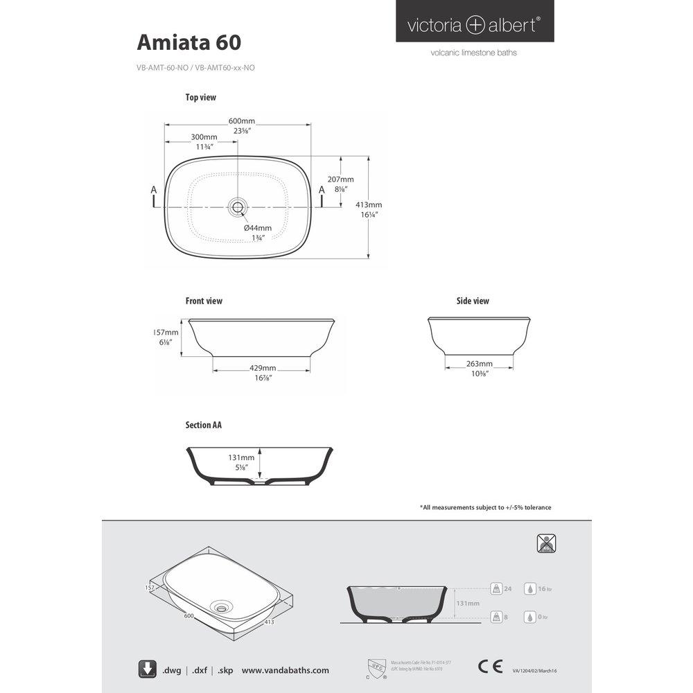 Victoria + Albert V+A opbouw wastafel Amiata 60