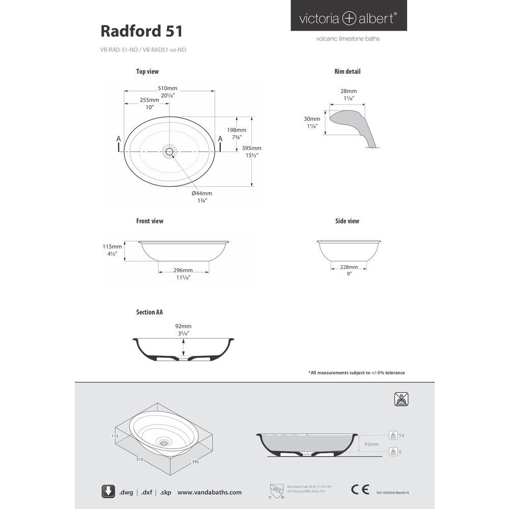 Victoria + Albert V+A countertop basin Radford 51