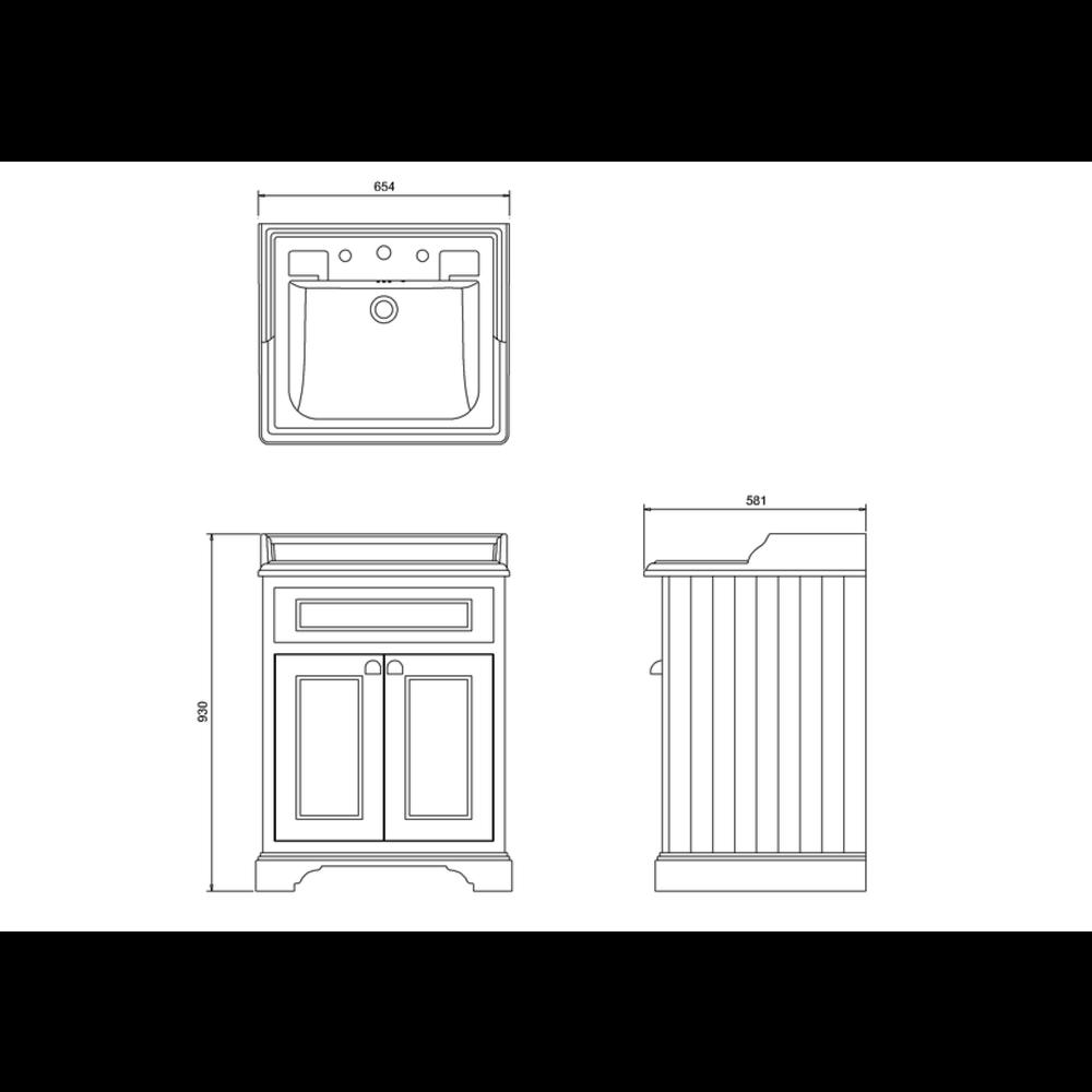 BB Edwardian Classic 65cm wastafel & onderkast met deuren B15-FF8