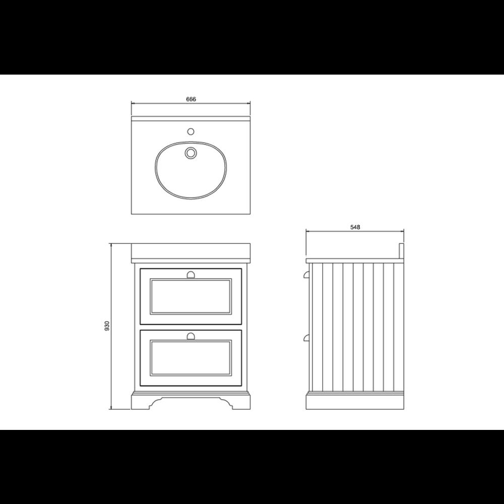 BB Edwardian 65 Wastafelkast met Minerva-blad wit en onderbouwwastafel FF9-BW66