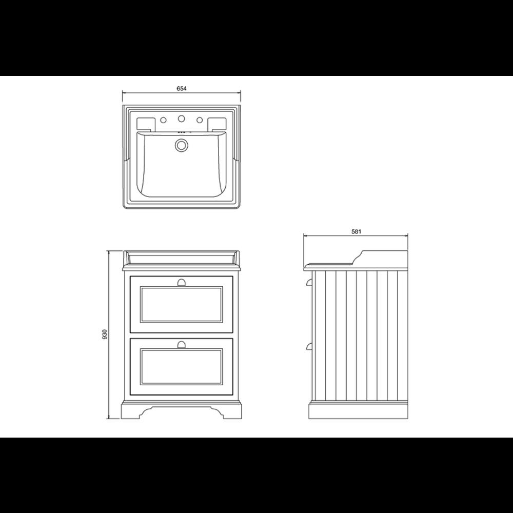 BB Edwardian Classic 65cm wastafel & onderkast met lades B15-FF9