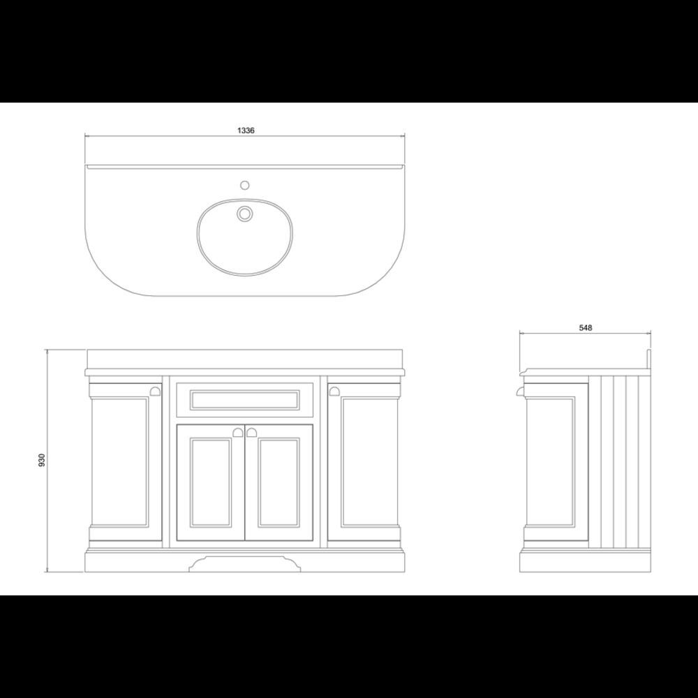 BB Edwardian 134 Wastafelkast met Minerva-blad Carrara wit en onderbouwwastafel FC1-BC13