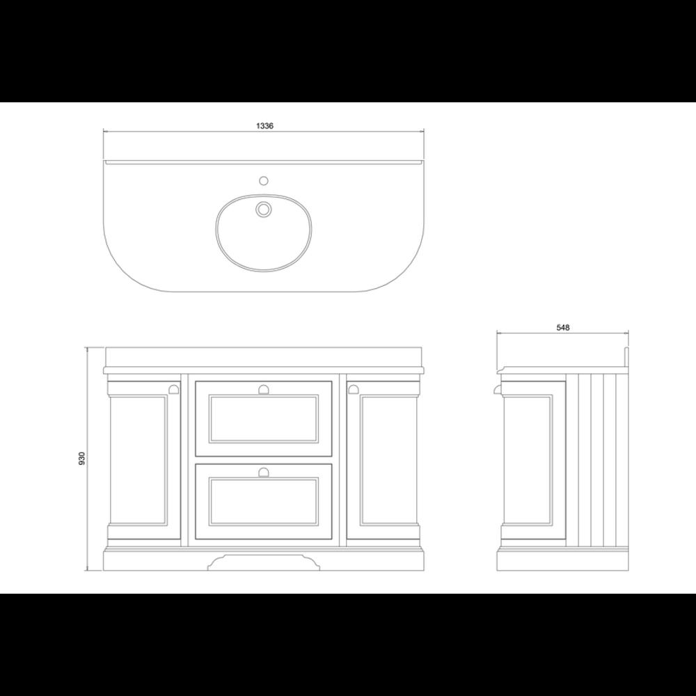 BB Edwardian 134 Wastafelkast met Minerva-blad Carrara wit en onderbouwwastafel FC4-BC13