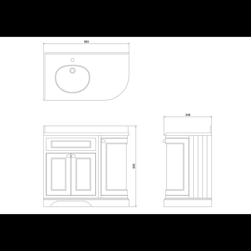 BB Edwardian 100 Wastafelkast met Minerva-blad wit en onderbouwwastafel links FC2-BW98L