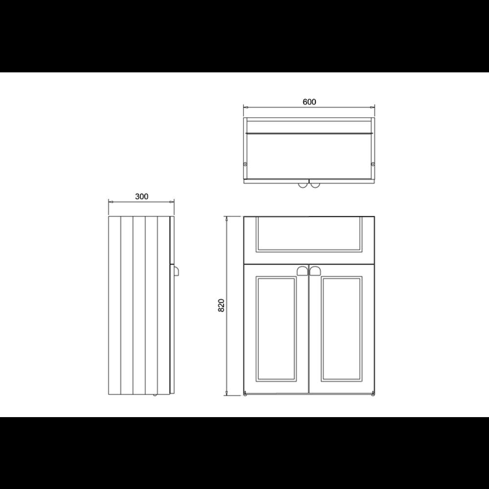 BB Edwardian 60cm onderkast met wastafel, soft-close deuren en planchet F6B-B12