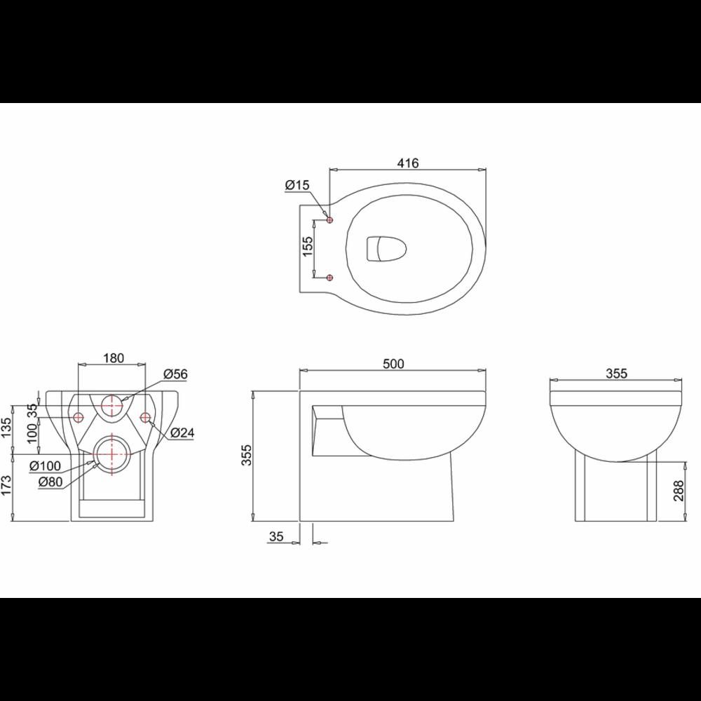 BB Edwardian 60cm WC-unit met wandtoilet en inbouw reservoir W60-P10