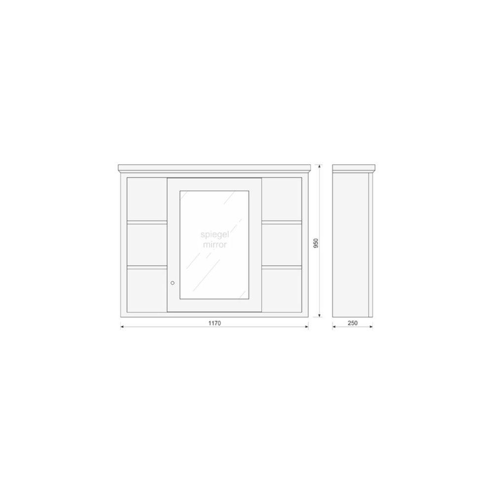 TCH Shaker Bathroom mirror cabinet  Shaker with open shelves SMCM120