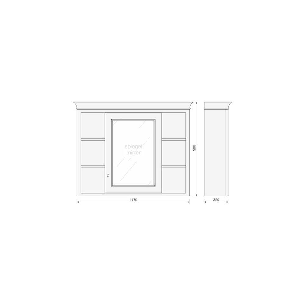 TCH Victorian Badkamer spiegelkast met open vakken Victorian VMCM120