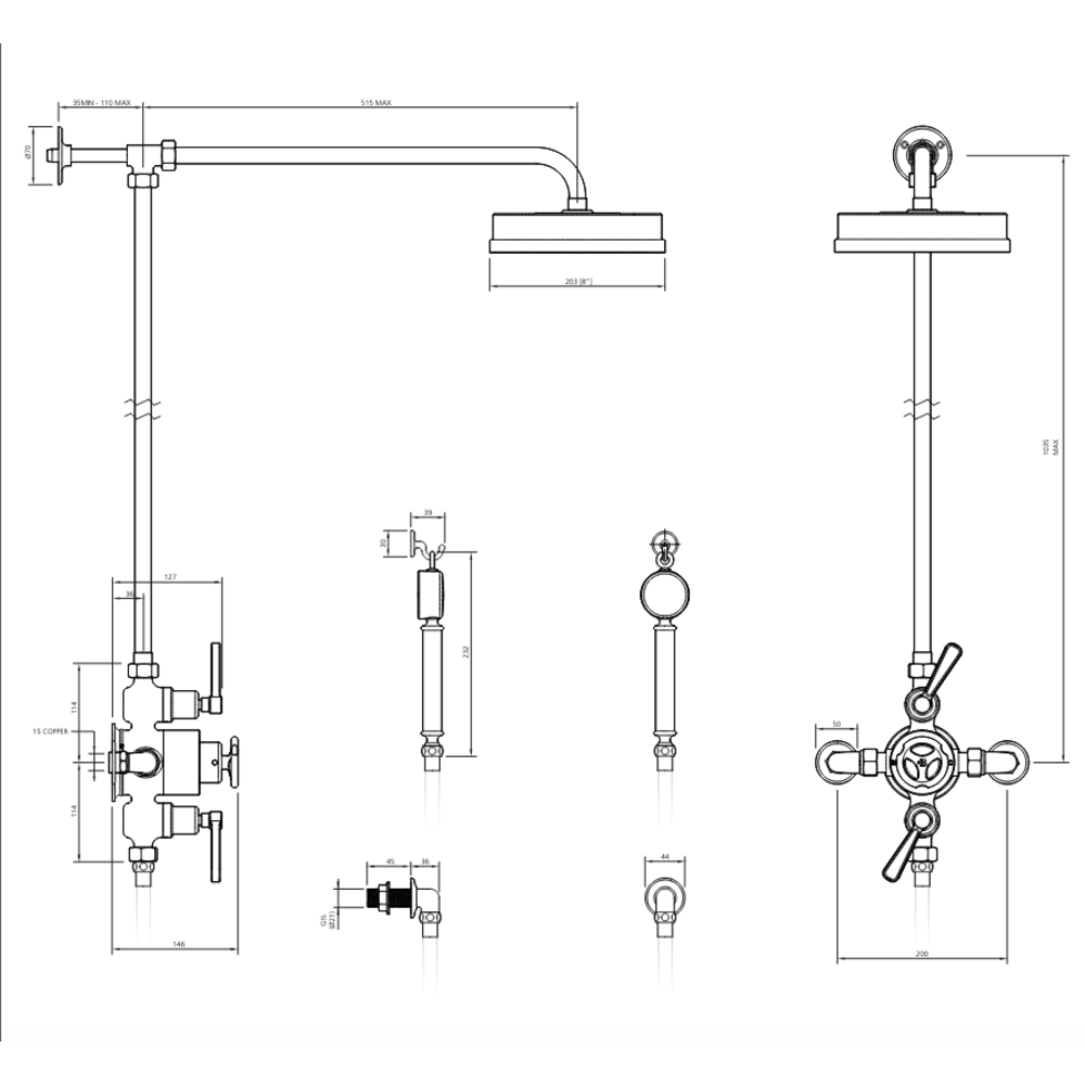 """Lefroy Brooks 1920 Ten Ten LB1920 Ten Ten exposed shower set mit 8"""" or 12"""" rose and hand shower TTE-8742"""