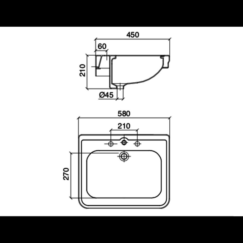 Sbordoni SB Neoclassica 58cm console basin 5758