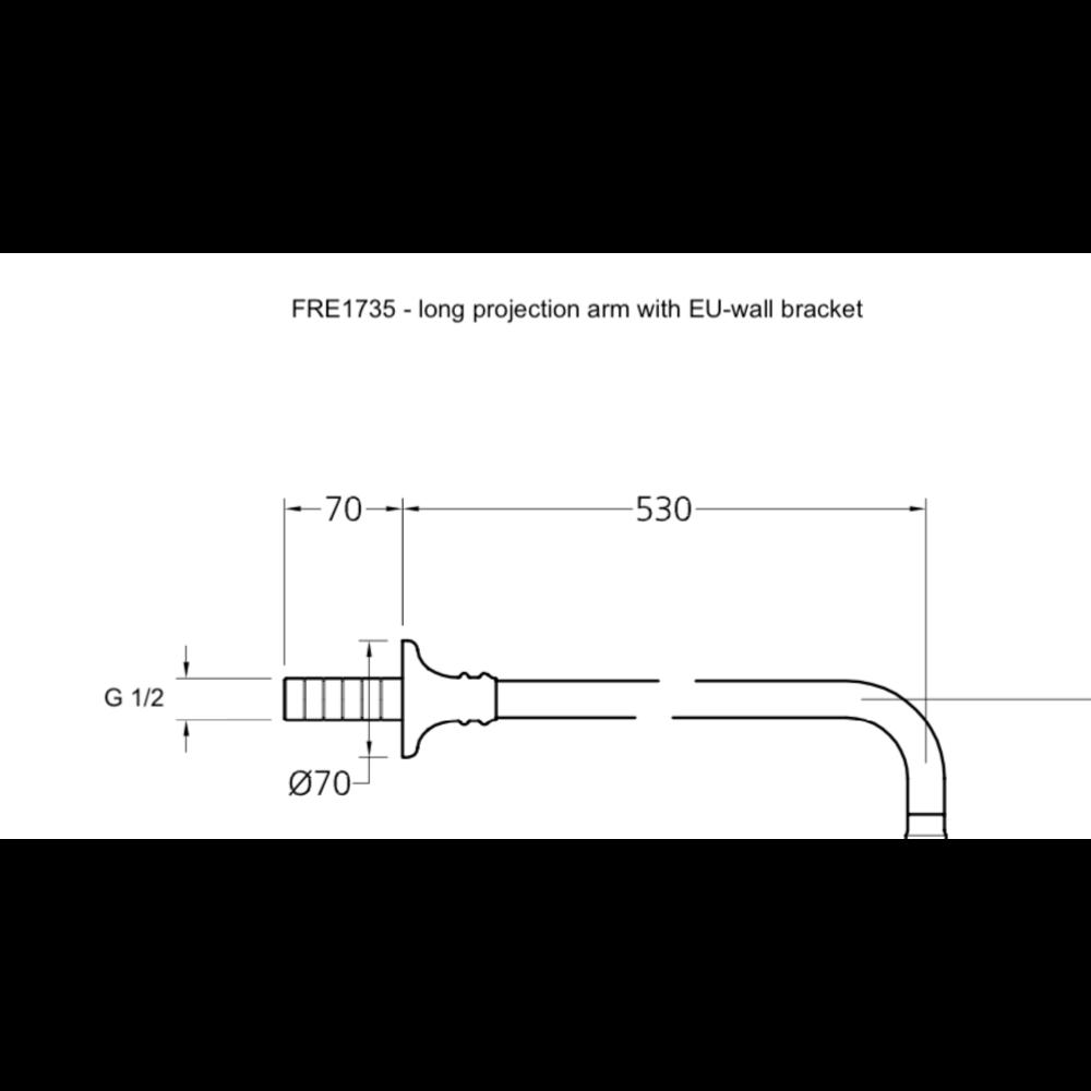 Lefroy Brooks LB1910 La Chapelle shower  arm projection 400mm (FRE1734) or 530mm (FRE1735)