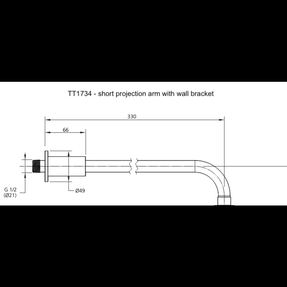 Lefroy Brooks LB1920 Ten Ten  shower arm  projection 330mm (TT-1734) or 500mm (TT-1735)