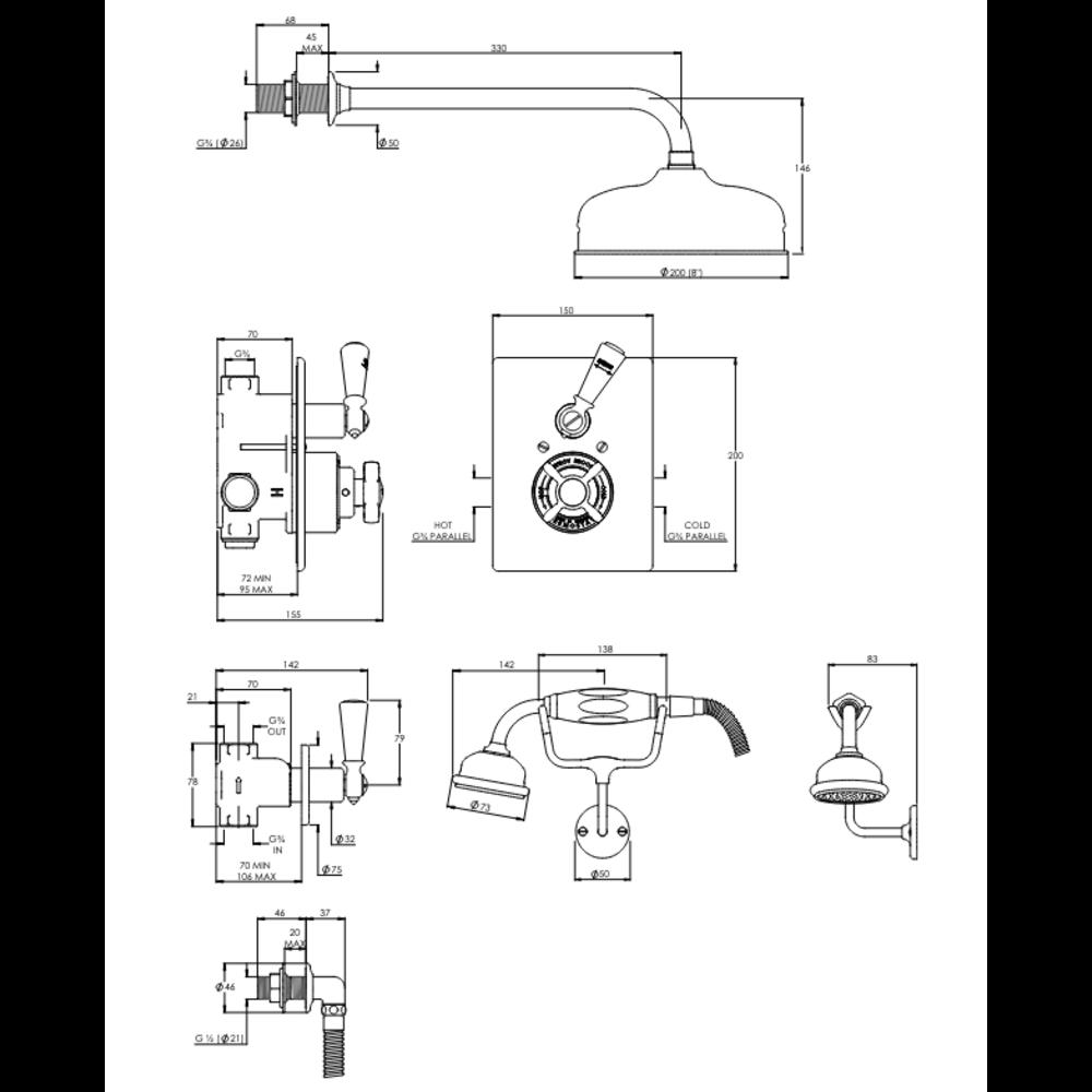 "Lefroy Brooks 1900 Classic LB1900 Classic inbouw douche-set met 8"" douchekop en handdouche GD-8716"