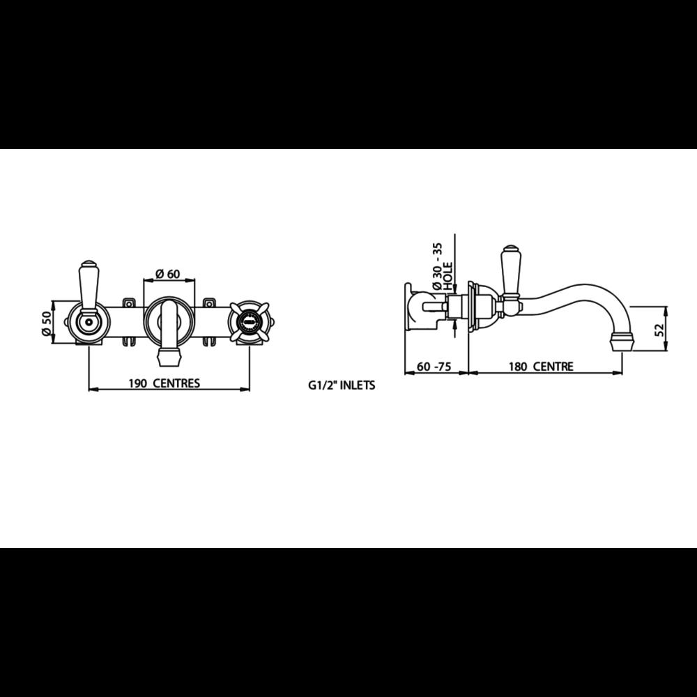Perrin & Rowe Victorian White 3-gats wastafelmengkraan wand met kruisgrepen en Country uitloop E.3513
