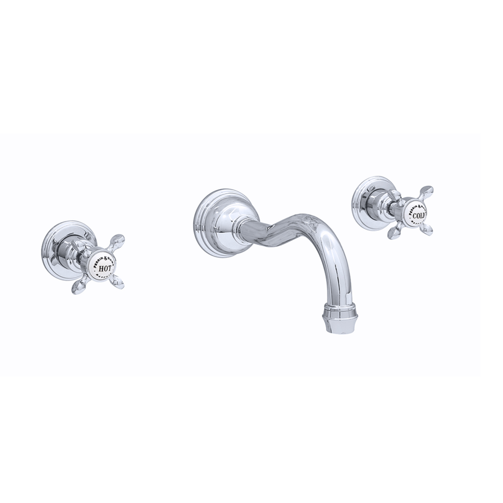 Perrin & Rowe Victorian White 3-hole wall mounted basin mixer with crosshead handles and country spout E.3513