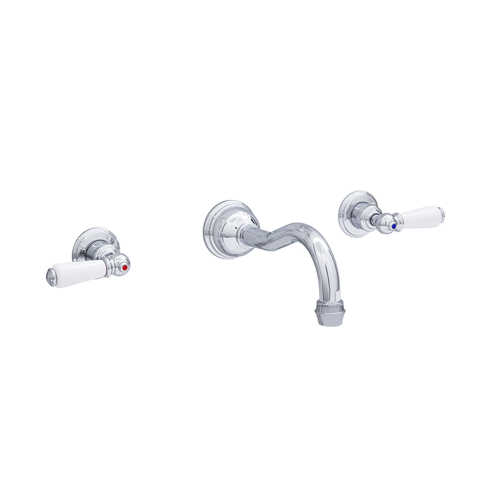 Perrin & Rowe Victorian White 3-hole wall mounted basin mixer with lever handles and country spout E.3512