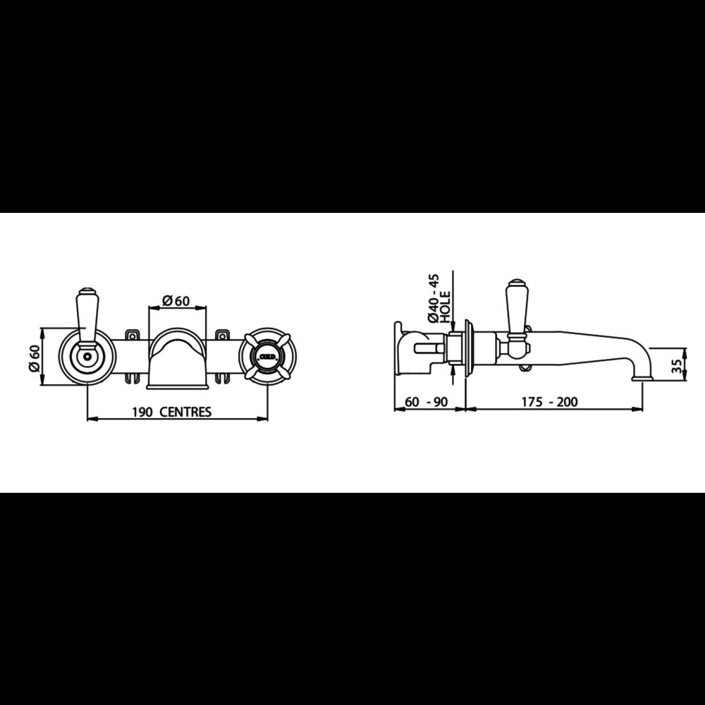 Perrin & Rowe Victorian White 3-gats badmengkraan wand met kruisgrepen E.3594
