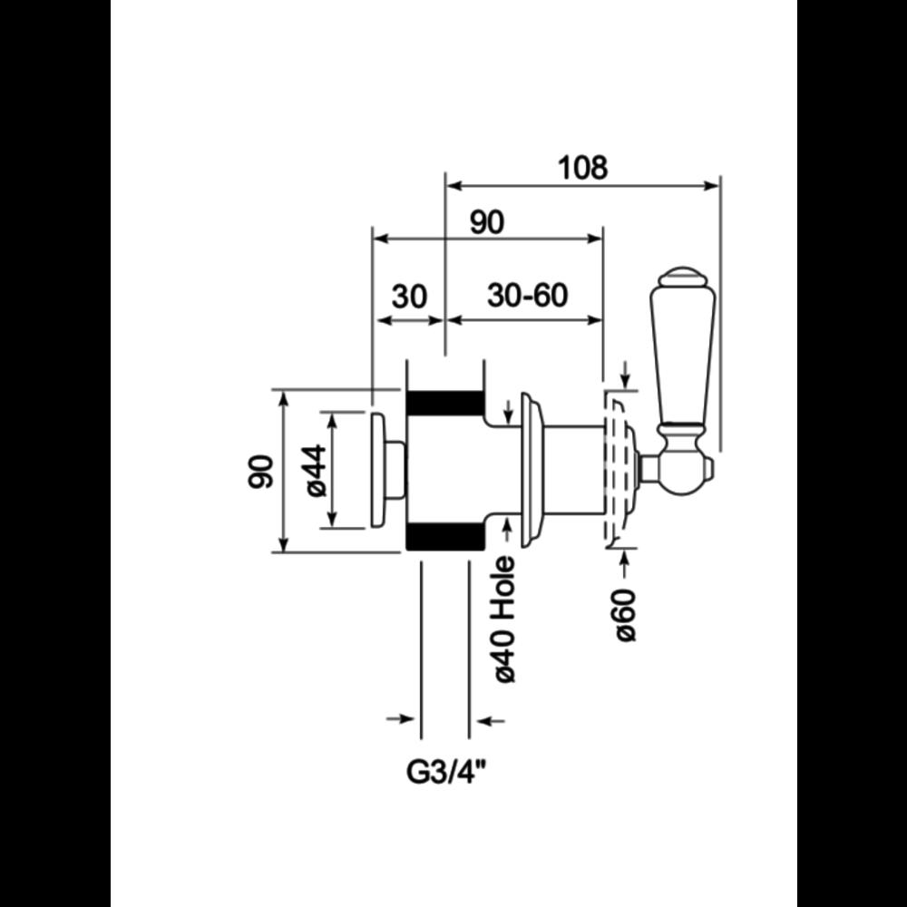 """Perrin & Rowe Victorian White PR wand stopkraan 3/4"""" met hendel  E.3240"""