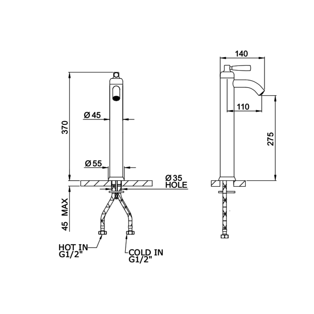 Perrin & Rowe Langbourn Langbourn 1-gats wastafelkraan met hendel E.3871