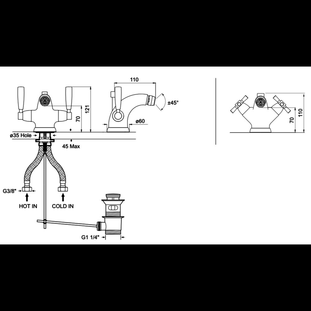 Perrin & Rowe Langbourn Langbourn 1-hole  bidet mixer with crosstop handles E.3876