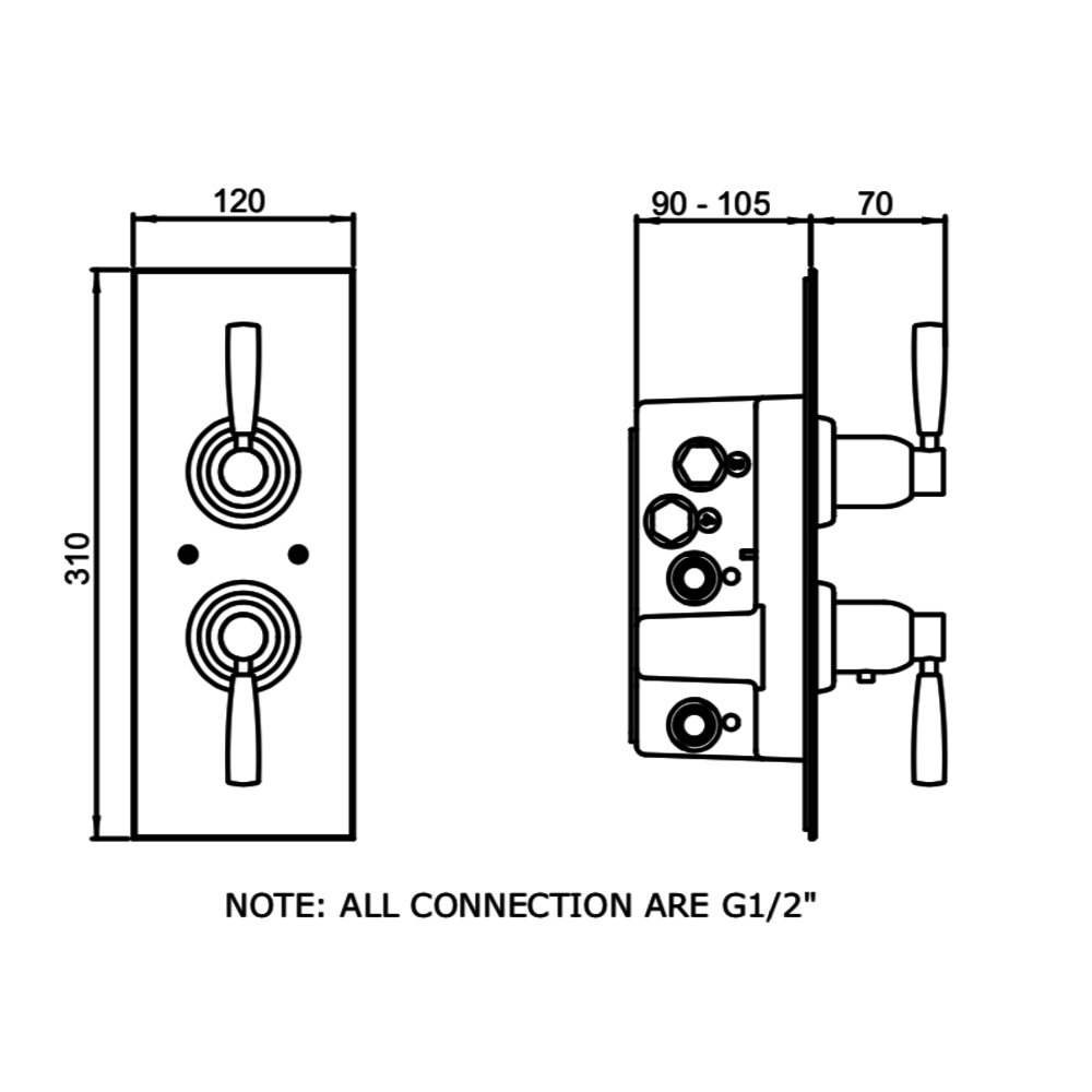 Perrin & Rowe Langbourn Inbouw douchethermostaat met stopkraan E.5951