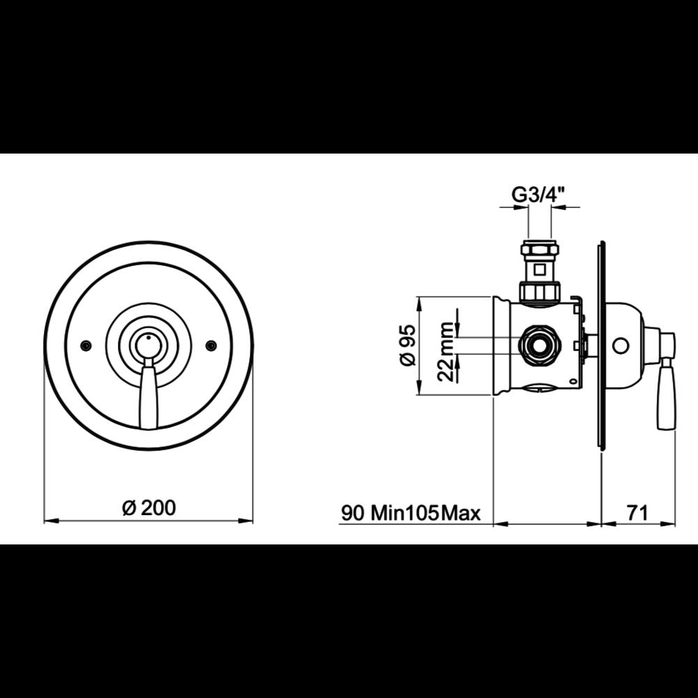 Perrin & Rowe Langbourn Inbouw douchethermostaat met hendel E.5885