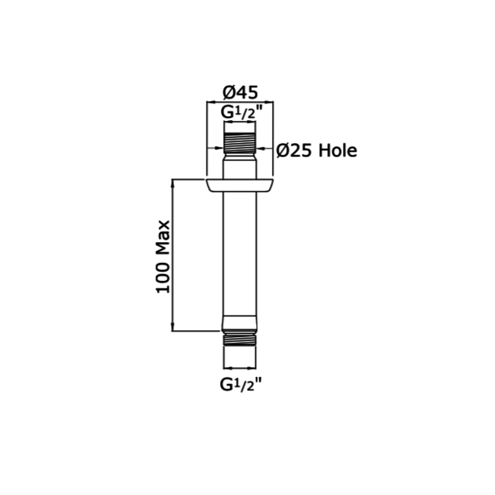 "Perrin & Rowe Langbourn Langbourn plafondarm (G1/2"") E.5888"