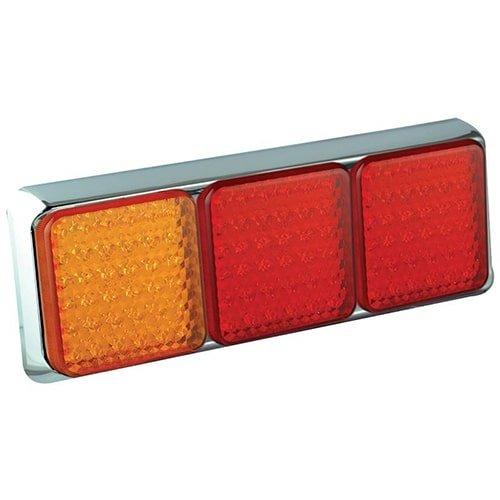LED achterlicht met chromen rand    12-24v   40cm. kabel
