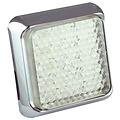 LED achteruitrijlicht met chromen rand    12-24v   40cm. kabel
