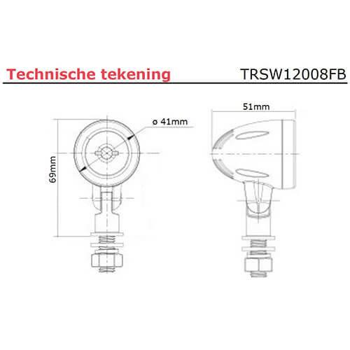 TRALERT® Kleine LED Werklamp |  20cm. kabel