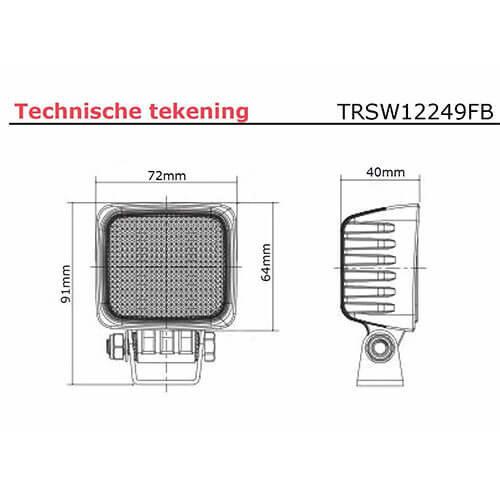 Beispiel Arbeitsscheinwerfer | 12-24V | 40cm. Kabel
