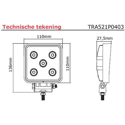 Platte LED Werklamp | 1250 lumen  | 9-33v |