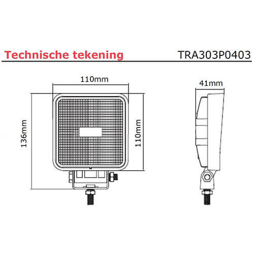 TRALERT® LED Werklamp | 1500 lumen | 9-36v | 40cm. kabel